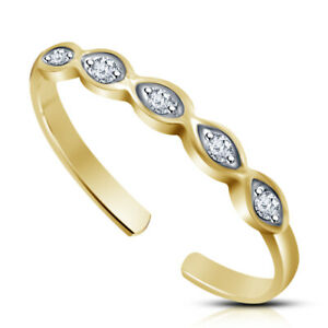 14k Yellow Gold Fn Diamond 5 stone infinity Band Adjustable Toe Ring