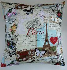 """Shabby Chic Red Blue Paris Postcard Eifel Tower Love Cushion Cover 16"""""""