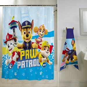 "PAW Patrol 13Pc Fabric Shower Curtain and Hooks Set, Kids Bath, 72""x72"""