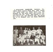 Richlands Ramblers Virginia 1957 Baseball Team Picture