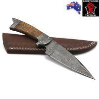 Handmade Hunting Knife, Damascus Blade, Walnut Wood & Damascus Handle, Sheath