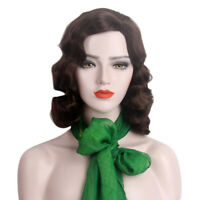 Finger Wave Wig 1970s 20s Retro Mid Curly Synthetic Hair Women Cosplay Black