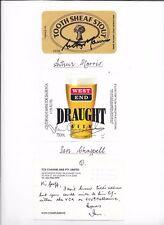 IAN CHAPPELL & ARTHUR MORRIS - AUSSIE CRICKET LEGENDS - HAND SIGNED BEER LABELS