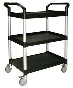 Heavy Duty Black 3 Tier Kitchen Catering Trolley Food Drink Cart 851x410x940mm