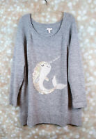LC Lauren Conrad Narwhal Ugly Christmas Sweater Tunic Length Sequins 1X