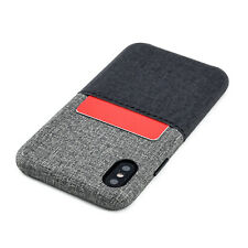Dockem Luxe M1 iPhone X/XS Slim Card Case; Canvas Style; Card Slot, Metal Plate