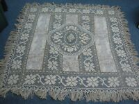 ANTIQUE VICTORIAN LACE w FLORAL FABRIC EMBROIDERED FLOWER FRINGE TABLECLOTH 67""