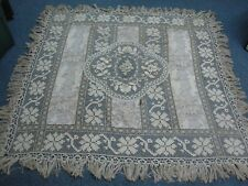 """ANTIQUE VICTORIAN LACE w FLORAL FABRIC EMBROIDERED FLOWER FRINGE TABLECLOTH 67"""""""
