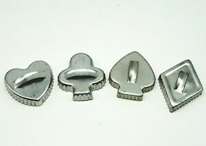 Vtg Aluminum Fluted Cookie Cutters Playing Card Suits Heart Spade Diamond Club