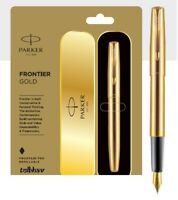 Parker Frontier Gold GT Fountain Ink Pen FP Brand New in Box Sealed Trim NIB