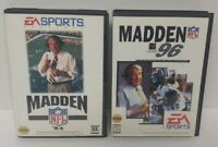 Madden 94 + 96 NFL Football  Sega Genesis Working + Tested 2 Game Lot