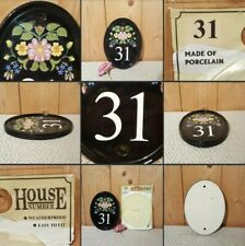 *New* Lovely Black Oval Ceramic House Number▪FLORAL PLAQUE▪31~Flowery Patterned