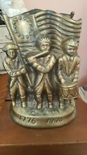 """Bookends Brass American Revolution Soldiers Flag Usa 8"""" Tall Nice 1776 1976 War"""