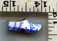 VINTAGE STERLING BRACELET CHARM~LARGE~ENAMELED DUTCH SHOE~**CHIP ON ONE SIDE**