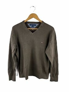 VINTAGE Tommy Hilfiger Pullover Knit Sweater Mens Size L Brown Cotton Cashmere