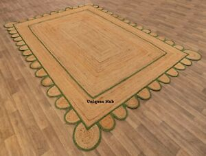 Scalloped Rug For Home Natural Braided Jute Handmade rustic look area carpet rug