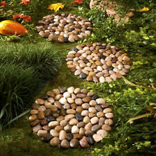 "10"" Dia Set of 6 Round River Rock Stepping Stones Yard Garden Lawn Outdoor"