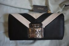 Guess Womens Roma Faux Leather Striped Organizer Wallet