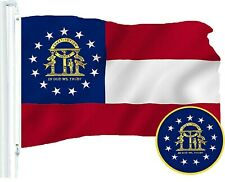 G128 – Georgia State Flag US USA | 3x5 ft | Embroidered 210D - Brass Grommets