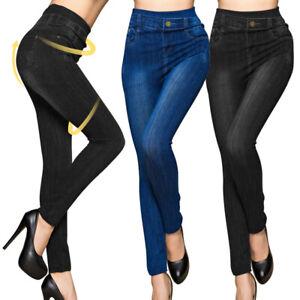 Damen Jeans Stretch Hose Stoffhose Skinny Leggings Leggins Treggings Jeggings JE