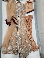 Crystal Diamanté Embroidered Anarkali Dress Asian Bollywood Wedding OutfIt UK 16