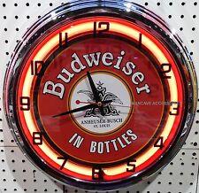 "17"" Classic BUDWEISER Sign Neon Clock Bud"