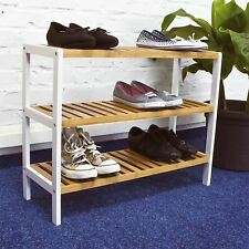 3 Tier Bamboo Shoe Rack Organiser Stand Tidy Storage Shelf Rack Unit