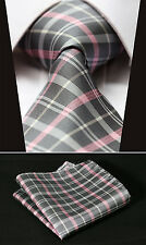 "TC3012K8 Gray Pink Check 3.4"" 100% Silk Woven Men Tie Necktie Handkerchief Set"
