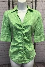 S New York & Company Green White Floral Pattern Stretch Button-Down Shirt Top