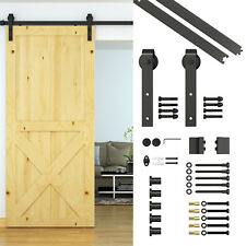 6.6ft Carbon Steel Wood Barn Door Hardware Kit Sliding Track Set Kit Wall Mount