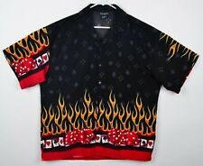 Ferugini Mens Sz XL Dice Flames High Roller Las Vegas Black Polyester Camp Shirt