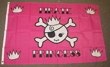 PINK PIRATE PRINCESS FLAG 3'X5' CROSSBONES CROWN 3X5 FEET F822