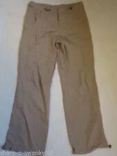 Pantaloni da donna beige in cotone a gamba dritta