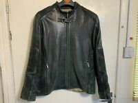 VINTAGE 80's WILSON LEATHERS DISTRESSED LEATHER MOTORCYCLE JACKET SIZE L