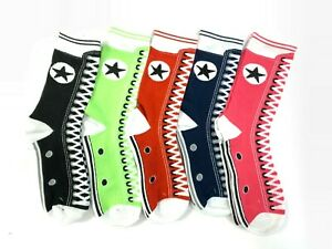 5 Pack Womens Funny Crew Socks Laced Up Star Design