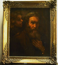 Saint Mathieu And the Angel Oil on Canvas XIX ° Th After Rembrandt Painting