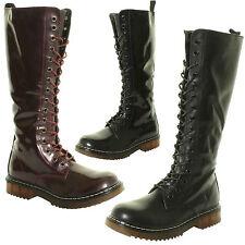 Ladies 16 Eyelet Lace Ups Knee High Wide Calf Biker Punk Grunge MOD Zip 18 Boots