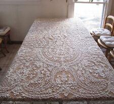 Antique Italian Point Venise Needle Lace Tablecloth Floral