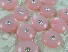 """20 Sparkling 1/2"""" Crystal Plastic Round Sewing Buttons~Pink #P398"""