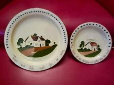 "2 Plates WATCOMBE DEVON MOTTOWARE 9¼"" Dinner & 6½"" Side ""Cottage""TORQUAY Pottery"