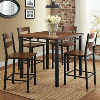 DINING SET COUNTER HEIGHT Table 5-Piece 4 Chairs Metal Vintage Oak Kitchen Home