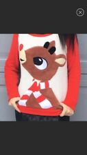 Rudolf The Rednose Reindeer Womens Holiday Christmas Red Pullover Sweatshirt