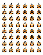 "48 HALLOWEEN WITCH OWL ENVELOPE SEALS LABELS STICKERS 1.2"" ROUND"