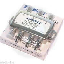 2X4 SATELLITE SWITCH to CONVERT DUAL LNB TO QUAD 4 OUTPUT 3X4 SW34 BELL FTA DISH