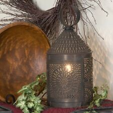 Primitive new handcrafted Big blacken tin elec.punched tin table lantern / nice
