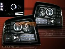 1992-1996 FORD BRONCO F-150 F250 F350 BLACK PROJECTOR HEADLIGHTS HALO RIM LED