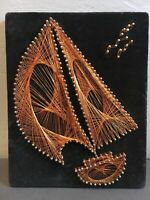 Vintage 1970s MID Century Modern Sail Boat Nail Copper Wire String Wall Art 8x10