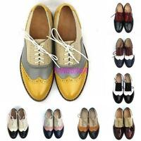 Vintage Womens Oxfords Lace Up Pieced Leather Wing Tip Formal Dress Shoes US 5-9