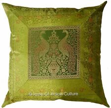 "Peacock Green 24"" Cushion Cover Handmade Brocade Floor Pillow Throw INDIAN Large"