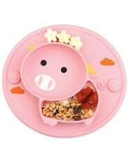 Baby Divided Plate Silicone- Portable Non Slip Child Feeding Plate with Suction